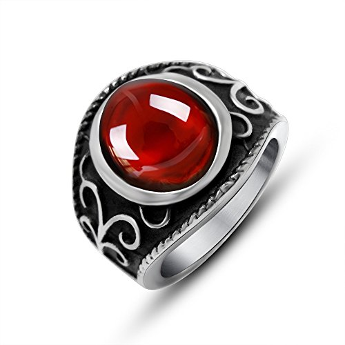 FANSING Jewelry Men's Stainless Steel Gothic Imitation Agate Rings