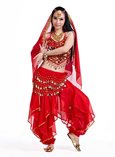 Dreamspell 2014 Hot Red indian style belly dance suit costume best stage show(3Pcs)