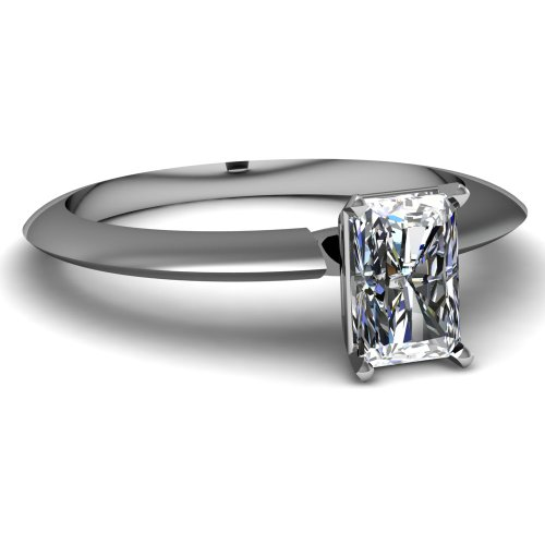 Fascinating Diamonds 0.55 Ct Radiant Cut Solitaire Vs1-G Color Diamond Engagement Knife Edge Ring 14K Gia