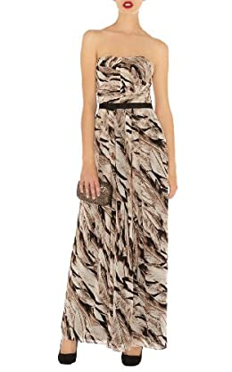 Limited Edition Neutral Feather Print Long Dress
