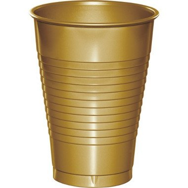 Gold Plastic Cups 12ct - 1