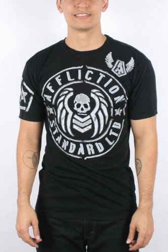 Affliction - Mens Barracks Attack T-Shirt In Blk Crinkle Lava, Size: X-Large, Color: Blk Crinkle Lava