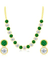 Sukkhi Appealing Flower Gold Plated AD Necklace Set For Women