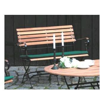 Siena Garden 335824 Klappbank Peru Flachstahlgestell schwarz, Teakholzbelattung 115 x 45 x 87 cm