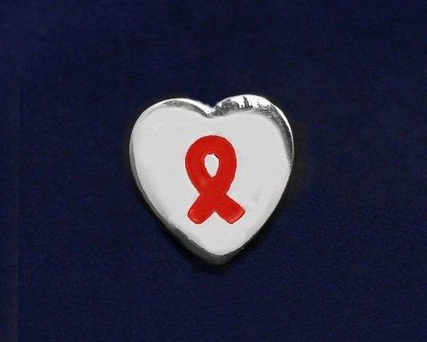Red Ribbon Pin-Heart Tac Pin (50 Pins)