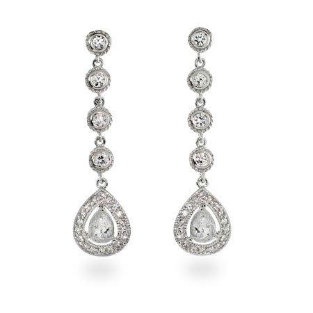 Glamorous Peardrop CZ Dangle Sterling Silver Earrings