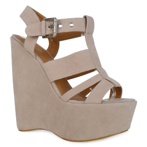 W5V Womens Beige Strappy Very High Heel Wedges