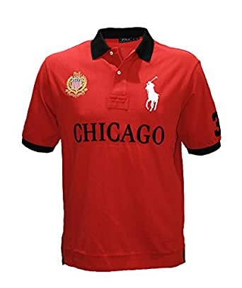 Polo ralph lauren men 39 s pony shirt top city chicago custom for Big and tall custom polo shirts