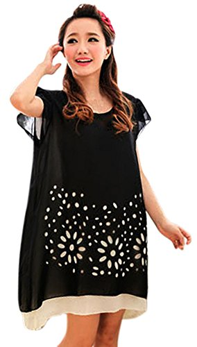 Am Clothes Womens Sexy Chiffon Print Short Sleeve Maternity Dress X-Large Black front-937874