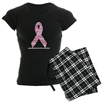 Artsmith, Inc. Women's Dark Pajamas Cancer Pink Ribbon Support Breast Cancer Awareness - Black, Small