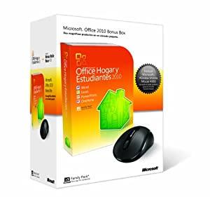 Microsoft Office 2010 Home & Student, Prm, DVD + Wireless Mobile Mouse - Suites de programas (Prm, DVD + Wireless Mobile Mouse, Caja, 3000 MB, 256 MB, 500 MHz, PC, Windows XP (SP3) 32-bit Windows 7 Windows Vista (SP1) Windows Server 2003 (SP2) MSXML 6.0)