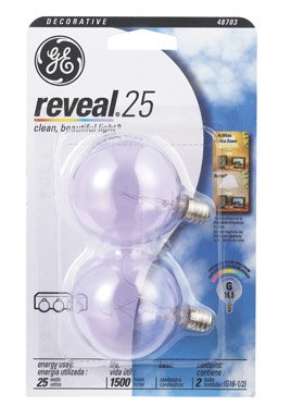 Ge Reveal Mini Globe Bulb 25 W 145 Lumens G16.5 Candelabra Clear Card Card Of 2