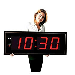 Large Digital Red Led Display Wall Clock - Black Wall Clock with Remote Control 8 Inch LED