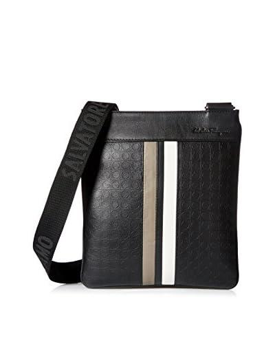 Salvatore Ferragamo Men's Gancio Embossed Calfskin Stripe Detail Messenger Bag, Black/White/Grey