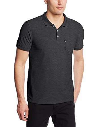 Levi's Men's Rillo Short Sleeve Pocket Polo, Caviar, Medium