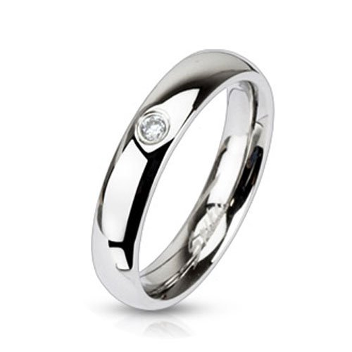 3mm Clear Solitaire CZ 4mm Wedding Band Engagement Stainless Steel Ring R226 Size 4.5 - 8