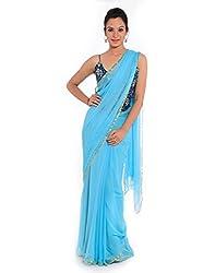 Geroo Women's Chiffon Saree (sck-401a_Blue)