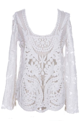 Romwe Women'S Hollow Out Flowers Lace Pattern Sheer Polyester Blouse-White-One Size front-722588