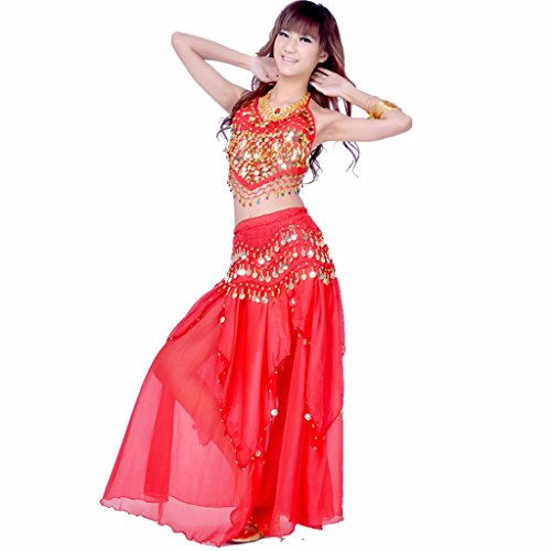 Pilot-trade Women's Belly Dance Costume Skirt with Gold Cions Skirt & Top & hip Scarf