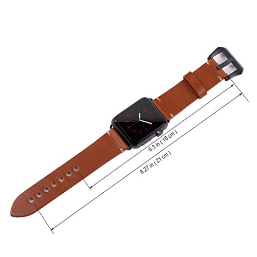 Apple Watch Band ,Vintage Vegetable Tanned Leather Watch Band For I Watch 42mm With Black Adaptor Light Brown 6