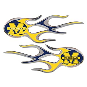 NCAA Michigan Wolverines Micro Flame Graphics Decal, Pack of 2