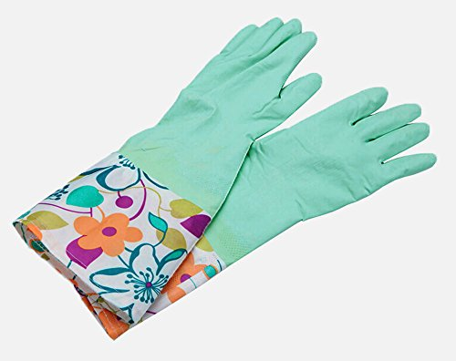 niceeshop(TM) Einzig Schicht Breit Rand Wasserdicht Antirutsch Haushalt Reinigen Gummi Latex Handschuhe,Blau
