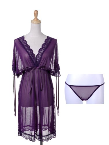 Anna-Kaci S/M Fit Purple Sheer Lace Trim Nightgown Lingerie Set w Matching Thong