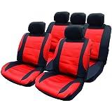 Hardcastle Ensemble de housses de protection maillées pour sièges auto Housse de protection pour volant inclus 14pièces Noir/rouge