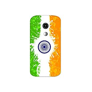 Moto e2 nkt09 (20) Mobile Case by Mott2 - Indian Flag Paint (Limited Time Offers,Please Check the Details Below)