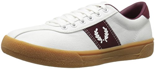 Fred Perry Men's Sports Authentic Tennis Shoe Fashion Sneaker, Snow White/Snow White/Port, 10 UK/11 D US (Perry Shoes compare prices)