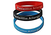 Penicillin Allergy Bracelet Medical Alert Silicone Wristband(Pack of 3) Black, Red, and Blue from First Choice Essentials