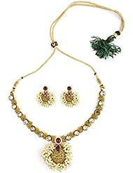 Bridesmaid Antique Gold Plated Necklace Set Studded With Pearl & Maroon Stone