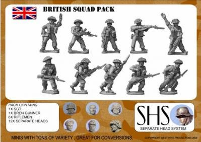 Separate Head System (WWII Miniatures 28mm): British Infantry Squad 1944