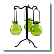 Unique Bottle Tree w/ 3 Hanging Jewel Colored Glass Ball Vases