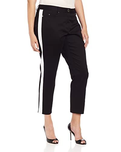DKNYC Plus Women's Skinny Ankle Pant with Side Stripes
