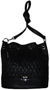 Tignanello Leather Purse Lady Q Convertible Bucket Drawstring Tote Black