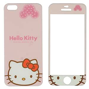 meramobilestore front & back colored sparkle hello kitty tempered glass for apple iphone 5/5s