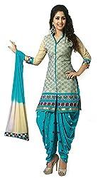 SGC Blue Cotton Embroidery unstitched churidar Patiyala (NKT-5012)