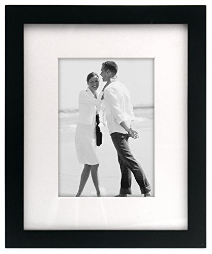 Malden International Designs Matted Linear Classic Wood Picture Frame, Holds 5x7 or 8x10 Photo, Black (7 X 10 Frame compare prices)