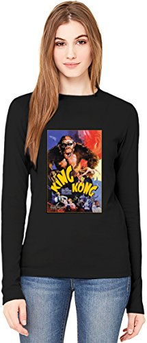 King Kong T-Shirt da Donna a Maniche Lunghe Long-Sleeve T-shirt For Women| 100% Premium Cotton Ultimate Comfort Small