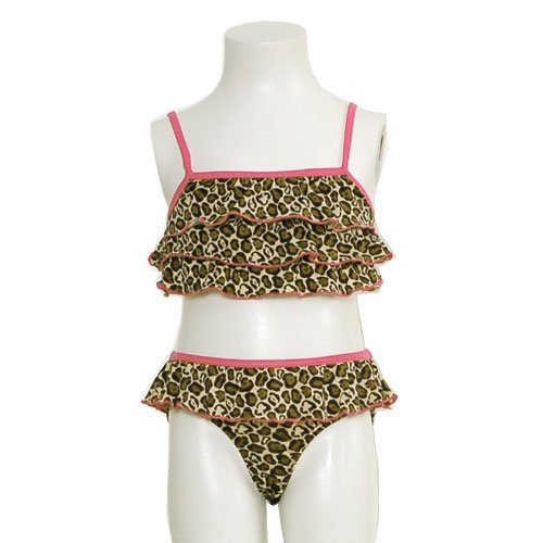 Brown Swimsuit Size 12M Animal Print Fuchsia Trim Bikini Baby Girl