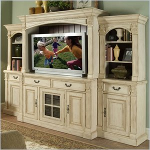 Cheap Riverside Furniture Weybridge 64 Inch TV Stand Entertainment System in Madera Cherry and Wellington White (80140-PKG)