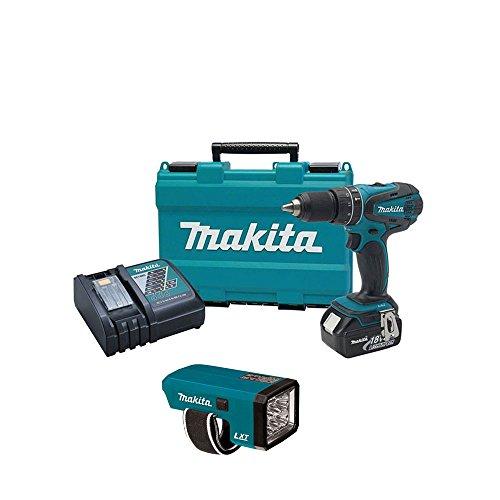 "Makita Xph012 18V Cordless 1/2"" Hammer Drill Driver Kit, Makita Lxlm01 Flashlight"