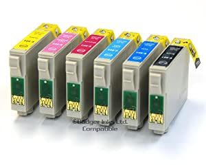 6 Compatible Printer Ink Cartridges fit Epson Stylus Photo 1400 & 1500W ( T0791, T0792, T0793, T0794, T0795, T0796 )