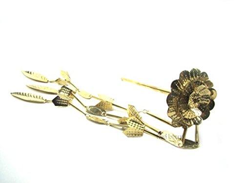 Kingdom of handmade product Arts & Crafts Gold Leaf Embellish Original Accessories Brass Flower Barrette (Costume Stores Cleveland)