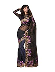 Anvi Creations Black Net Georgette Heavy Embroidered Saree (Black_Free Size)