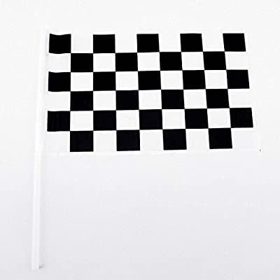 Adorox Plastic Checkered Mini Race Flags Nascar Theme Party Favor Decoration (Black/White (72 Flags))