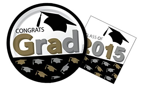 Grad Caps Graduation Lunch Napkins & Dinner Plates Party Kit for 8
