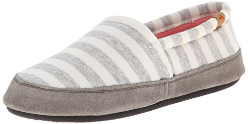 ACORN Women's Moc Summer Weight Slip-On Loafer, White Stripe, Large/8-9 M US