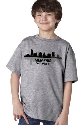 Memphis, Tn City Skyline Youth T-Shirt / Tennessee River City Tee Shirt-Grey-Medium